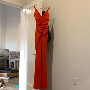 Windsor long ruched front mermaid dress